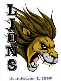 An illustration of a lion sports mascot head with the word lions