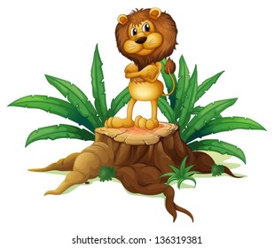 Illustration of a lion standing above the wood on a white background