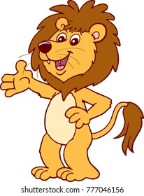 Illustration of a lion waving his hands