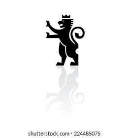 Illustration of a lion wearing a crown with raised paws on a white background. Vector. Logo. Sign.