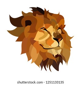 illustration of lions head vector, check our page for other colors, well designed and colored, cartoon, low poly design, flat design
