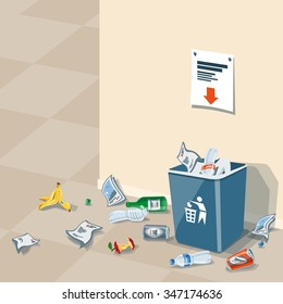 Illustration of littering waste that have been disposed improperly at an inappropriate location around the dust bin near wall in interior. Garbage can is full of trash. Trash is fallen on the ground.