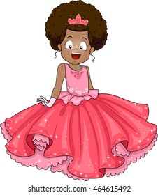 Illustration of a Little African Girl Dressed in a Princess Costume