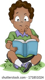 Illustration of a Little African-American Boy Thinking About Something While Reading a Book