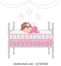 An illustration of a little angel sleeping