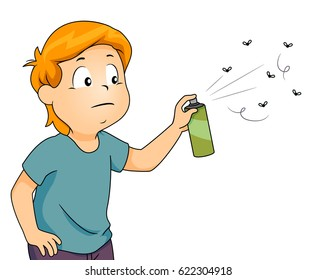 Illustration of a Little Boy With a Bothered Look on His Face Spraying Bugs With Insect Repellent
