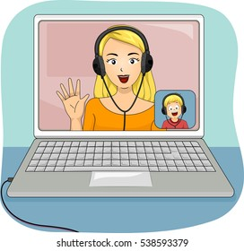 Ilustraciones, imágenes y vectores de stock sobre Kid Video Call ...