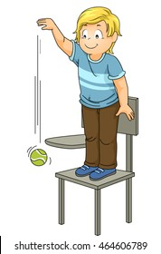 Illustration of a Little Boy Dropping a Ball from a High Position