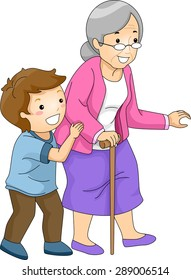 Illustration of a Little Boy Helping an Old Woman Cross the Street