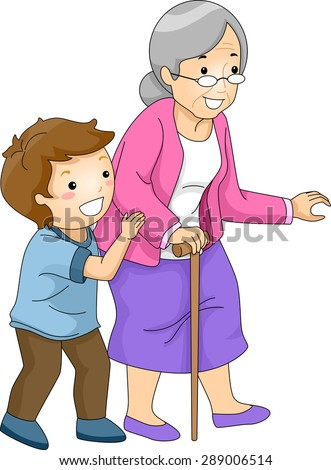 Illustration Little Boy Helping Old Woman Stock Vector ...