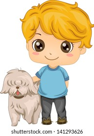 Illustration of a Little Boy with his Pet Dog