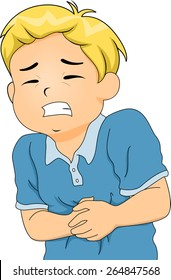 Illustration of a Little Boy Hunched Up from Stomach Pains