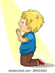 Illustration of a Little Boy Kneeling Down in Prayer