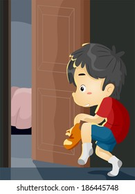Illustration of a Little Boy on Tiptoes Trying to Sneak Out of the House