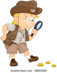 Illustration of a Little Boy on a Treasure Hunt