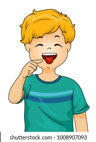 Illustration of a Little Boy Pointing to His Tongue with His Forefinger