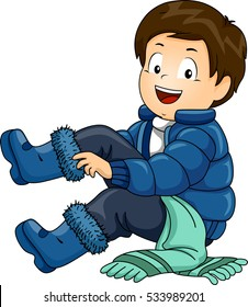 Illustration of a Little Boy Putting on a Set of Winter Clothing One by One