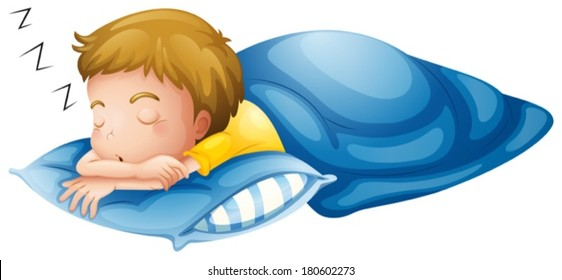 Illustration of a little boy sleeping on a white background