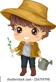Illustration of a Little Boy Tending to His Garden