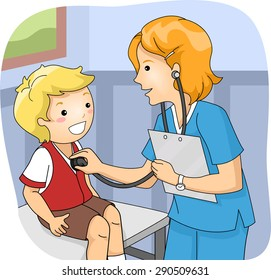 Illustration of a Little Boy Undergoing a Medical Checkup