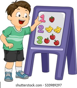 Illustration of a Little Boy Using a Board and a Set of Stickers to Match Objects With Their Corresponding Numbers