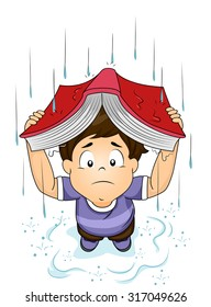 Illustration of a Little Boy Using His Book to Cover Himself from the Rain