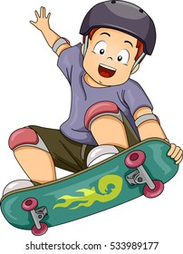 Illustration of a Little Boy Wearing Protective Gear While Performing Skateboarding Stunts