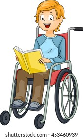 Illustration of a Little Boy in a Wheelchair Reading a Book