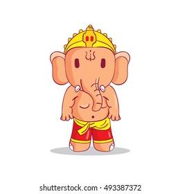 Illustration of little cartoon Ganesha