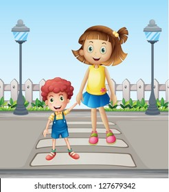 Illustration of a little child and a girl crossing the pedestrian