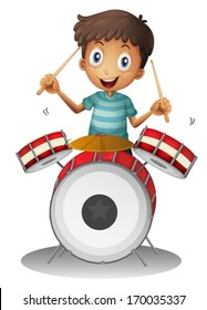 Illustration of a little drummer on a white background
