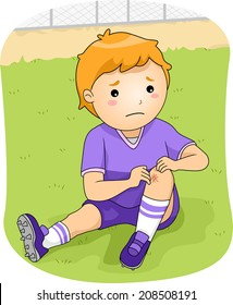 Illustration of a Little Football Player Checking His Injured Knee