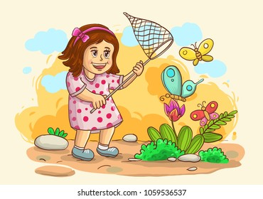 illustration of little girl catch a butterfly isolated on nature background with grass, tree, flowers and sky. vector illustration