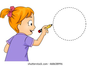 Illustration of a Little Girl Drawing a Circle