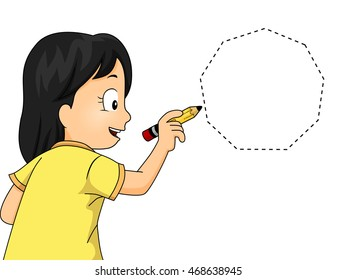 Illustration of a Little Girl Drawing a Nonagon