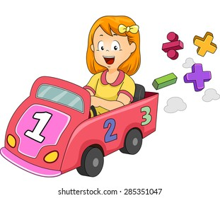 Illustration of a Little Girl Driving a Toy Car Designed with Numbers and Mathematical Symbols