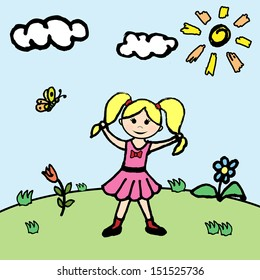 Illustration of little girl in flower meadow. Picture painted by hand.