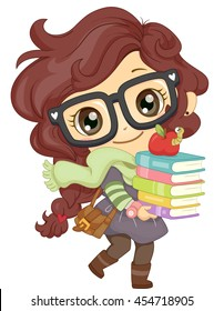 Illustration of a Little Girl in Glasses Carrying a Stack of Books
