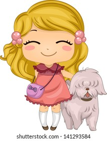 Illustration of a Little Girl with her Pet Dog