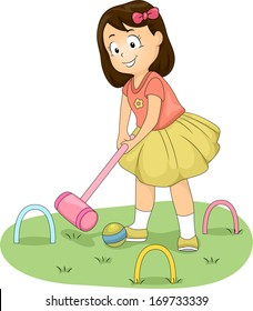 Illustration of a Little Girl Hitting a Ball with a Croquet Mallet