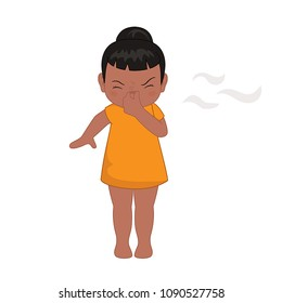 Illustration little girl pinching her nose after smelling something bad