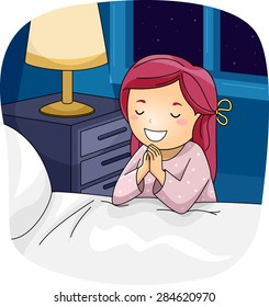 Illustration of a Little Girl Praying Beside Her Bed