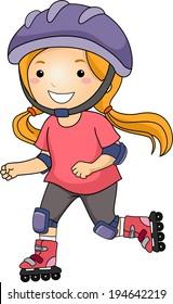 Illustration of a Little Girl Roller Blading