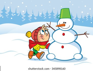 In the illustration a little girl sculpts snow funny snowman. Vector illustration done in cartoon style, on separate layers.