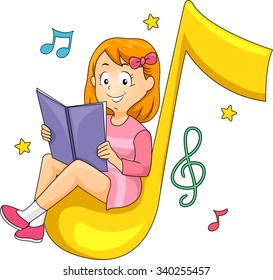 Illustration of a Little Girl Sitting Comfortably While Reading a Music Book