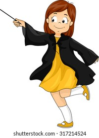 Illustration of a Little Girl Wearing a Wizard Costume Waving a Magic Wand