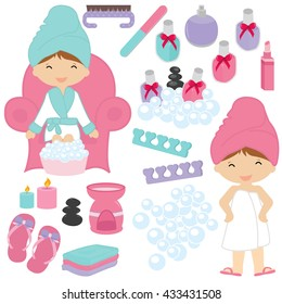 Illustration of Little Girls Being Pampered - Spa elements for kids spa party
