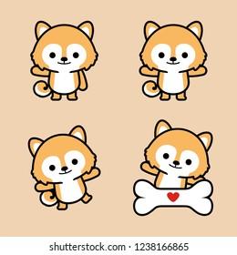 Illustration of Little Japanese Akita Dog.