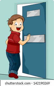 Illustration of a Little Kid Boy Pushing a Door to Enter