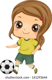 Illustration of Little Kid Soccer Girl kicking a Soccer Ball
